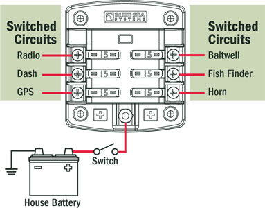 st blade fuse block 6 circuits cover blue sea systems application diagram