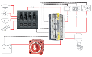 dualbus plus 150a busbar 1 4 20 stud 5 gang blue sea systems bussing switching and battery management subsystem