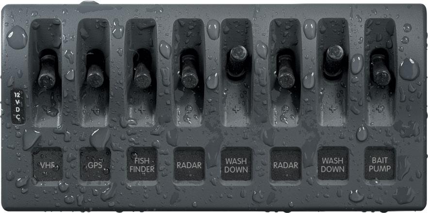 weatherdeck 12v dc waterproof switch panel 8 position. Black Bedroom Furniture Sets. Home Design Ideas