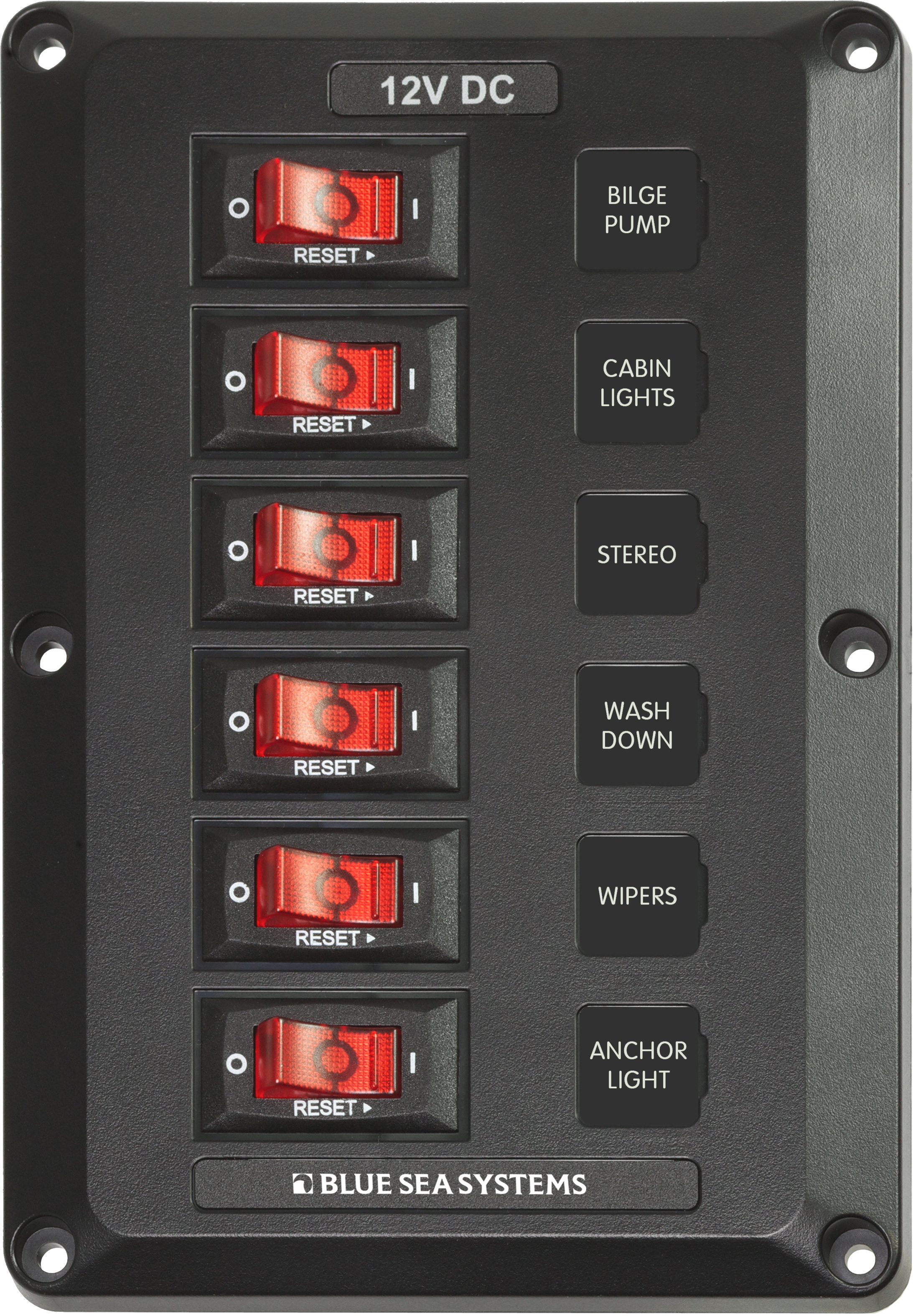 6 Position Belowdeck Circuit Breaker Panel Blue Sea Systems