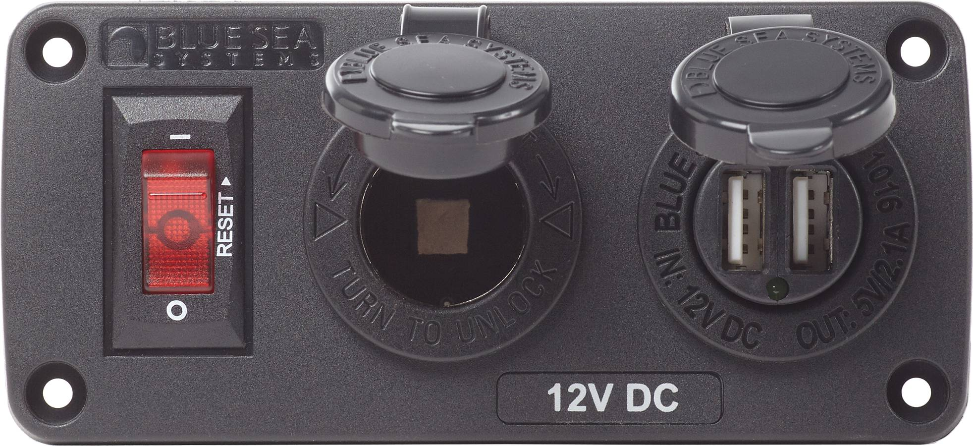 Belowdeck Panel 15a Circuit Breaker 12v Socket 21a Dual Usb Charger Product Image