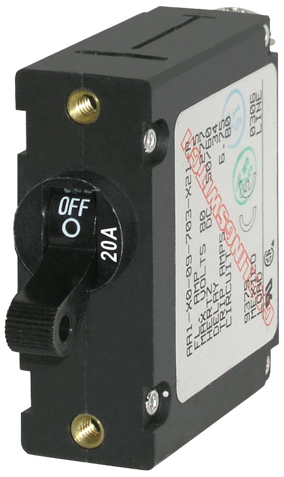 A Series Black Toggle Circuit Breaker Single Pole 20a