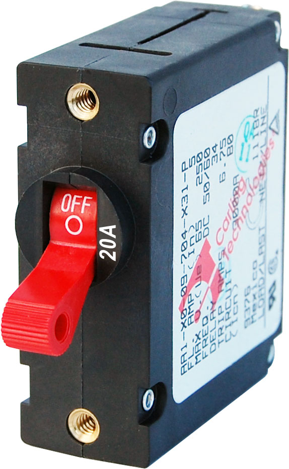 A Series Red Toggle Circuit Breaker Single Pole 20a