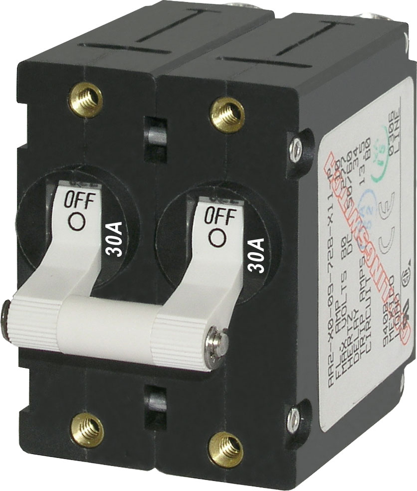 A Series White Toggle Circuit Breaker Double Pole 30a Blue Sea Breakers Product Image
