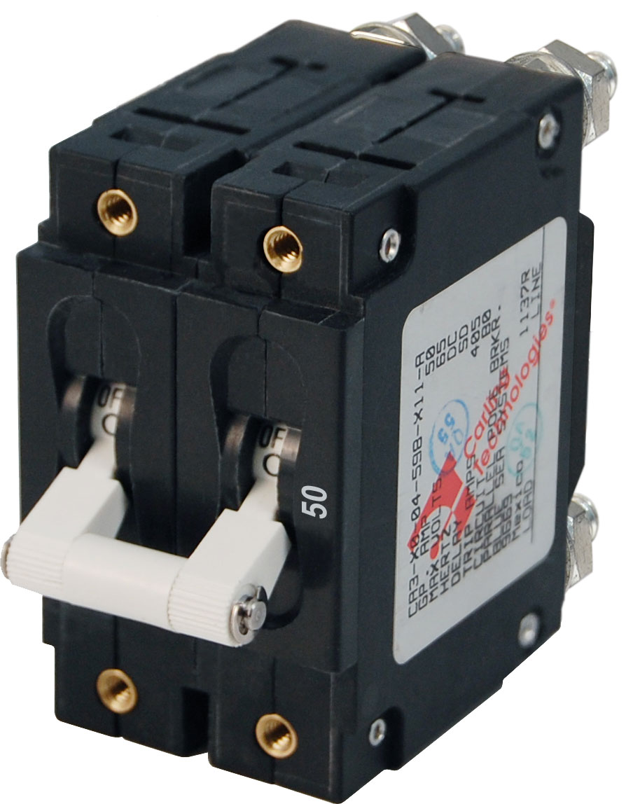 c series white toggle circuit breaker double pole 50 amp blue product image