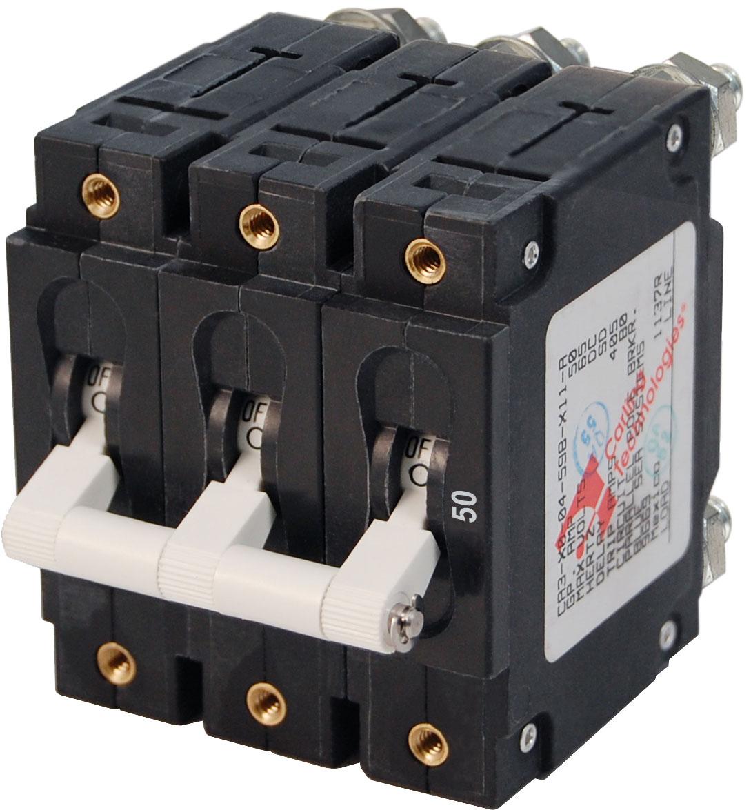 C-Series White Toggle Circuit Breaker - Triple Pole 50 Amp - Blue ...