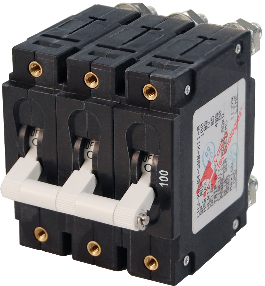 C-Series White Toggle Circuit Breaker - Triple Pole 100 Amp - Blue ...