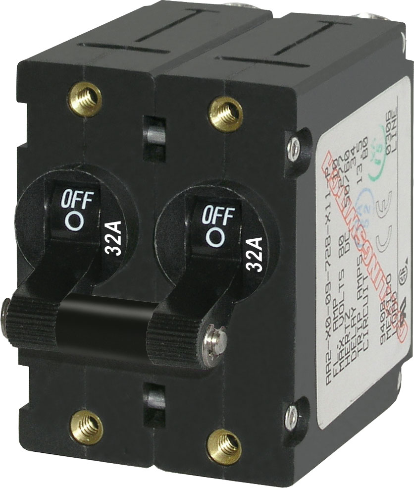 A Series Black Toggle Circuit Breaker Double Pole 32a