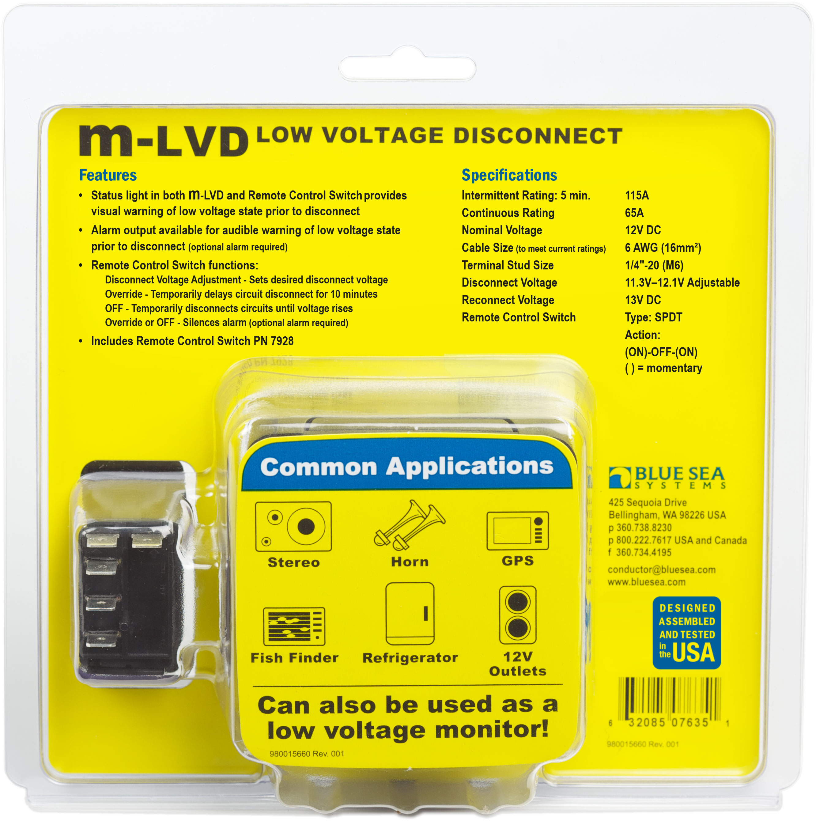 M Lvd Low Voltage Disconnect Blue Sea Systems