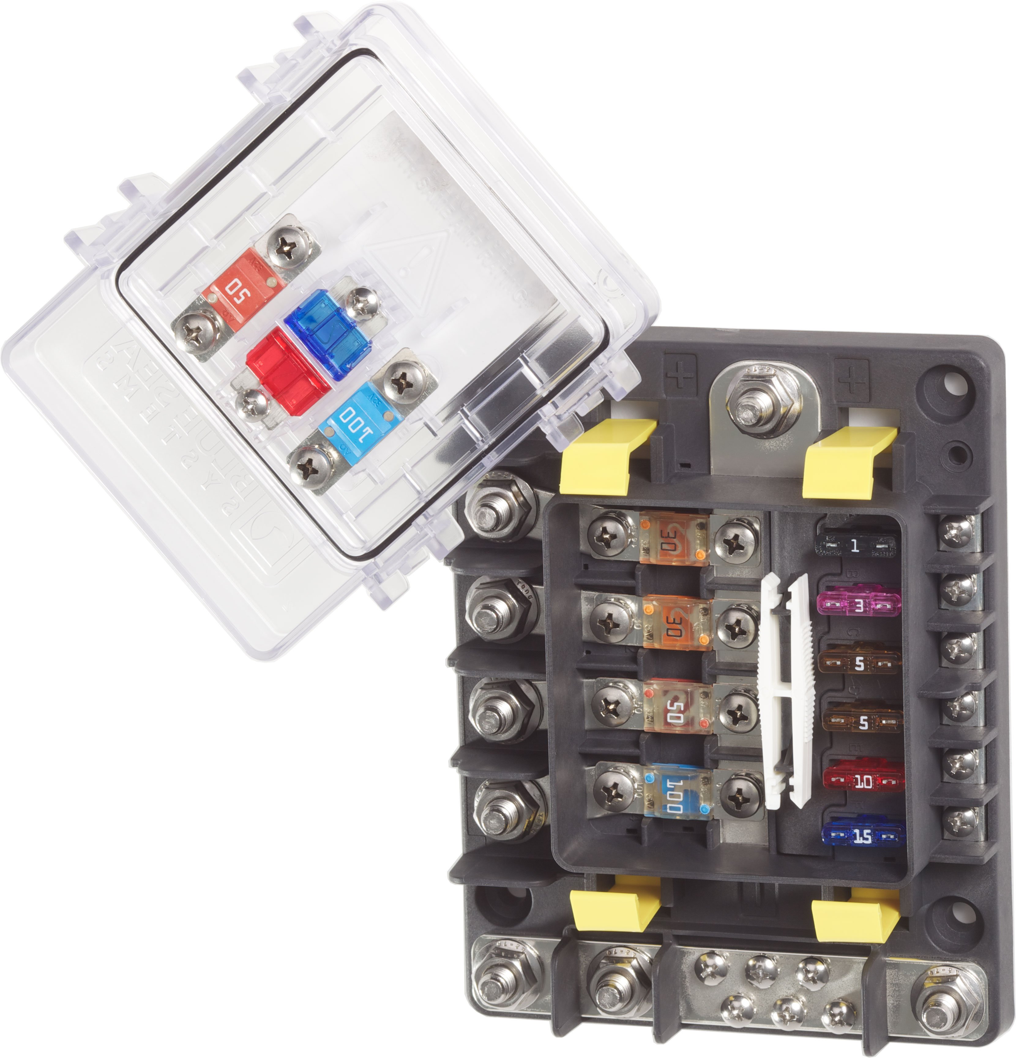 safetyhub 150 fuse block blue sea systems rh bluesea com Maxi Fuse 150 Amp 200 Amp Inline Fuse Car Battery