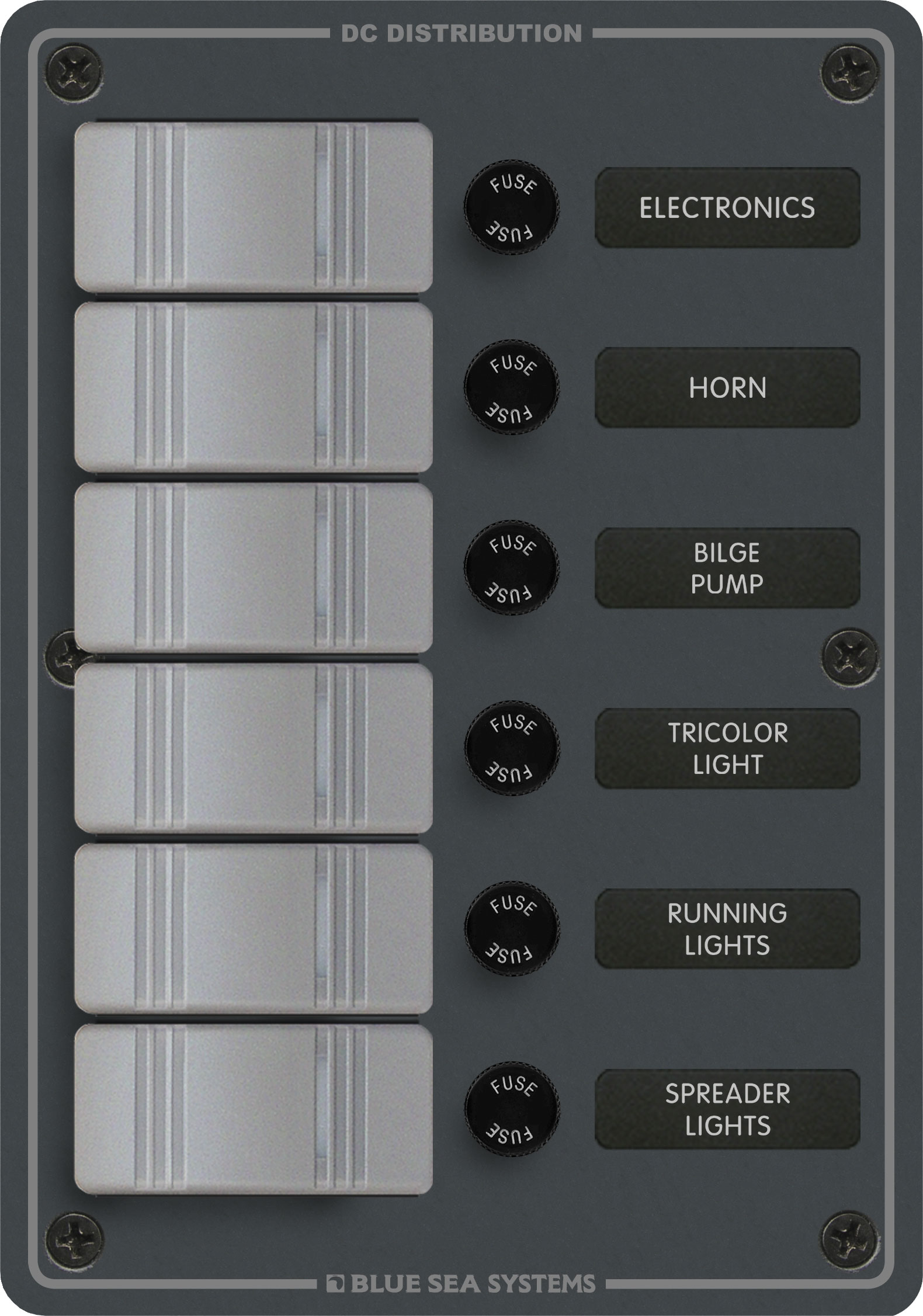 6 Position Slate Gray Blue Sea Systems Marine Grade Switch Panel Wiring Diagrams Product Image