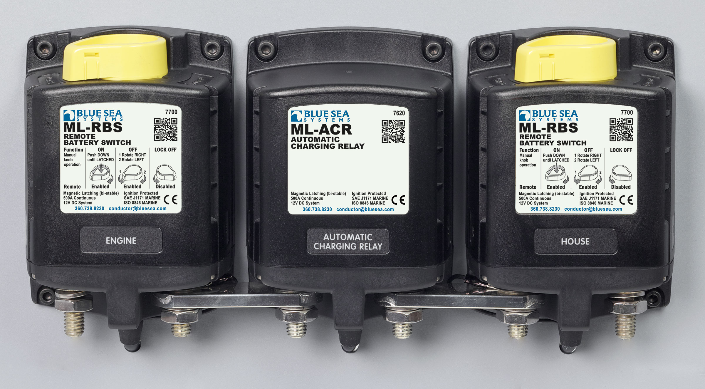 ML-ACR Automatic Charging Relay with Manual Control - 24V DC 500A - Blue Sea  Systems