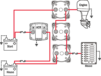 battery management wiring schematics for typical applications 3 on off battery switches 1 automatic charging relay