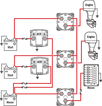 Battery Management Wiring Schematics for Typical Applications - Blue Sea  Systems | Battery Selector Switch Wiring Diagram With Dual Motors |  | Blue Sea Systems